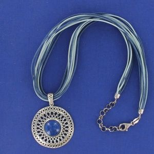 QVC- MILOR Italy Lapis Silver Medallion Necklace